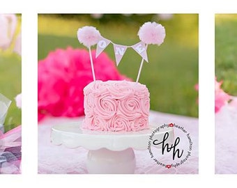 Pom Pom Cake topper, Cottage chic Cake Topper, country chic cake topper, Pompom cake topper, boho cake topper, boho party