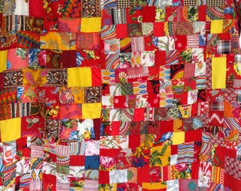 Indian PATCHWORK - Akka creation in red and multicolored cotton sold by the yard