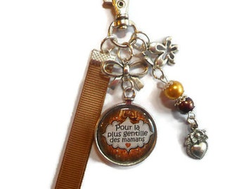 """Bag charm, door keys/MOM / """"for the sweet moms"""" / Wonderland faby/mother day/gift / birthday/thank you"""