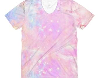Pastel Goth Galaxy Womens Tie Dye Shirt Rainbow Unicorn Aesthetic Clothing Fairy Kei Kawaii Clothing Harajuku Soft Grunge Creepy Cute