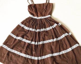 Vintage Jonathan Logan Pretty Woman Brown Polka Dot Dress