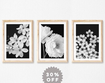 Flower Photography Prints, Set Of 3 Black and White Floral Prints, Wall Art, Prints, Floral, Flower Print Set, Nature Photography