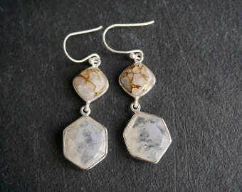 Sterling silver moonstone and white calcite earrings