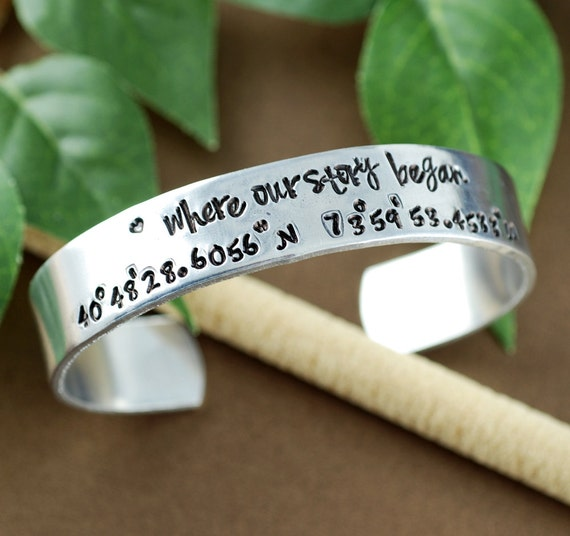 Where our Story Began, Coordinate Cuff Bracelet Custom Cuff Bracelets, Longitude Latitude Bracelet, Personalized Bracelets, Location