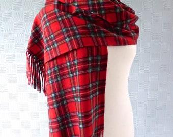 Red tartan scarf Royal Stewart tartan shawl red plaid big scarf tartan pashmina red tartan stole