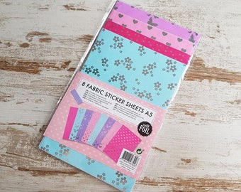 A5 fabric sticker sheets with foil