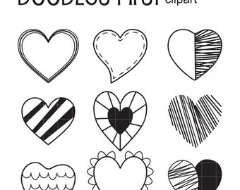 Hand Drawn Hearts Digital Clip Art for Scrapbooking Card Making Cupcake Toppers Paper Crafts