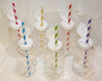 MILK - Juice BOTTLEs BPA Free / No SPiLL LiDs/  STRAW Holes   Drink  Bottles ( 8 oz Small Square ) with FlIp ToP Lids- StRaW HoLe