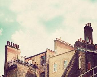 London photography, retro photography, London art, England artwork, London print, wall decor, vertical - Rooftops of London