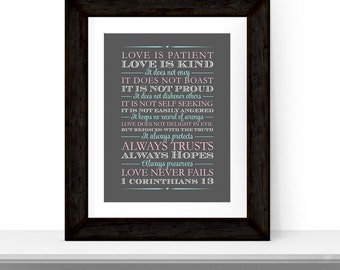 unique wedding gift for couple - 1st corinthians 13 - religious wedding gift for parents - canvas wall art - love never fails print