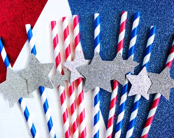 10 Patriotic Straws, Patriotic Decor, Memorial Day, 4th of July, Red White Blue, Summer Straws, Fourth of July, Star Straws, Silver Stars