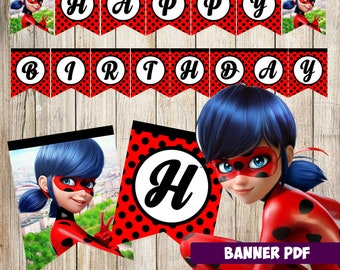 Miraculous ladybug Banner, instant download, miraculous ladybug banner, miraculous ladybug printable
