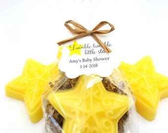 Star Soap, Baby Shower Favors with Custom Tags, Twinkle Twinkle Little Star Theme, Handmade Soap Favor, Nursery Rhyme Favor, 12 Favors