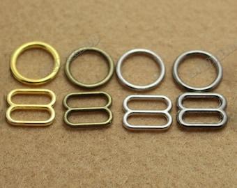 Lots 200set metal bra Lingerie Adjustment strap slides and rings Rectangular Figure 8 shape with 0 shape
