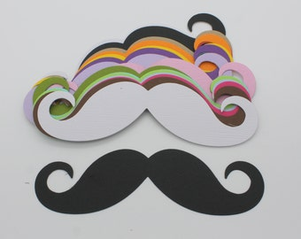MUSTACHE cut cardstock paper, supply made multicolored embellishment, scrapbooking, cardmaking, man, fashion, wedding
