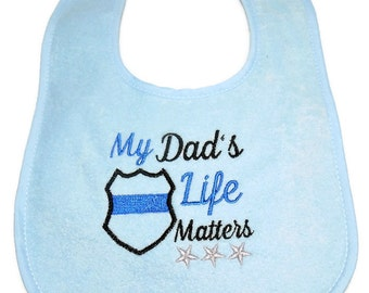 Baby Bib, LEO Baby, Thin Blue Line, Police Baby Gift, 3 Snap Position, Baby Shower Gift, Teething Bib, Waterproof Bib, Triple Layer,