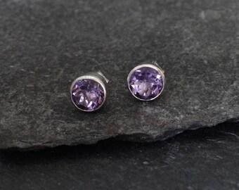 Amethyst Stud Earrings, February Birthstone, Round Earrings, Birthstone Earrings, Faceted Amethyst Earrings, Sterling Silver