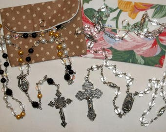 Rosary, Crystal Rosary, Pearl & black rosary, Our Lady Guadalupe Rosary, Handmade Rosary and pouch