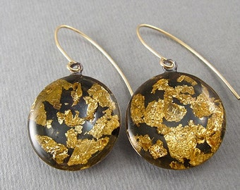 Gold and blackearrings , Gold foil, Bridesmaids Earings , Autum wedding Jewelry, Fall fashion