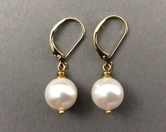 Drop Pearl Earrings Vintage Weddings Gold Earrings With White Round Swarovski Crystal Pearls