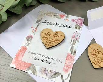 Save the Date Magnet with Cards Personalised Wooden Rustic Wedding Invitation Boho Spring Summer Heart Save-the-Date with Envelopes - Floral