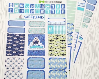 Shark Week // Kings of the Deep Weekly Kit (Set of 45) Item #750 // Bottom Washi only in Erin Condren and Plum Paper Size can be cut to size