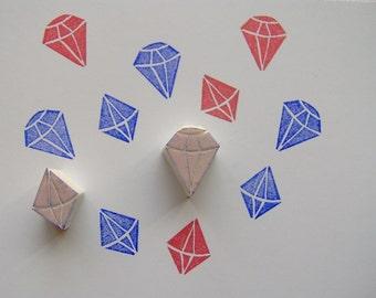 Diamond stamp, set of 2, gemstone stamp, geometric stamp, gem, diy, diamonds, crystal stamp, scrapbooking, air, boys stamp, crafts, wrapping