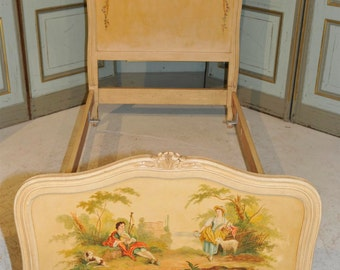 Antique Painted French Twin Bed with Beautiful Original Art Floral, Country Side of France #5874