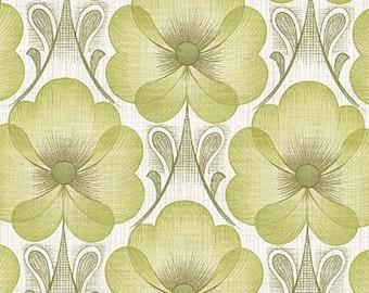 1970s Original Mod Floral Fiona Vintage 60s 70s Wallpaper - Retro Green Hues