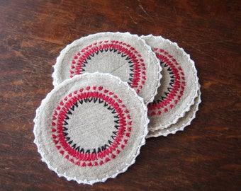 6 Embroidered Coasters Irish Linen Antique Vintage Doilies