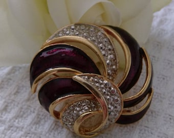 Vintage Gold Tone Unworn Purple Swirl Brooch - Boxed.