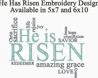 He is Risen Christian Embroidery Design