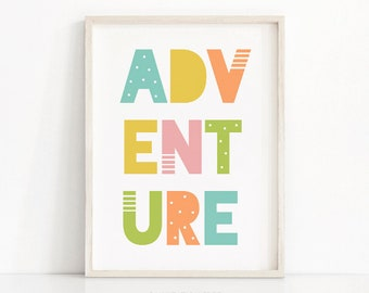 Kids Art Print Adventure, Playroom Wall Art Printable, Nursery Art Print, Printable Kids Wall Art, Nursery Print, Playroom Print, Kids Print