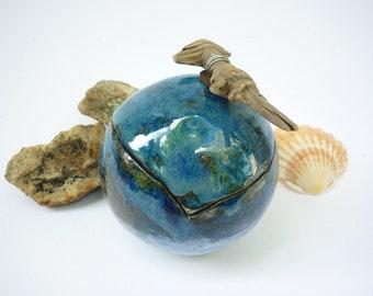 boite boule grès,bleue bois flotté,fait-main, ceramique, zen,nature art, faitmain France, cadeau pour lui, cadeau pour elle,artisanat art