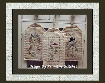 Gingerbread Tag Collection-Primitive Stitchery  E-PATTERN by Primitive Stitches-Instant Download