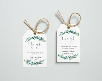 Thank You Tag, Wedding Thank You Tags, Gift Tags, Wedding Favor, Thank You Printable, Wedding Printable, Leaves tag, The Jackie collection