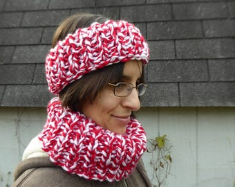 Candy Cane Cowl and Headband Set Red White Holiday Winter Knit Scarf