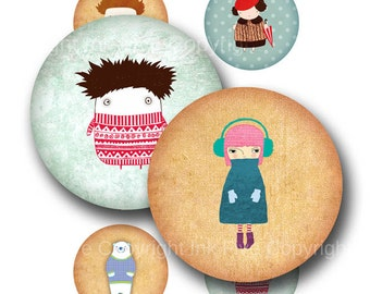 2.5 inch circles Winter Time digital download. Big round quirqy graphics for 2.25 inch pocket mirror, round tag. Whimsical creatures.