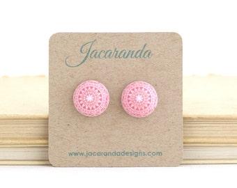 White and Pink Earrings - Pink Post Earrings - Mosaic Earrings - Vintage Style - Dome Earrings - Gift For Bff - Cute Earrings