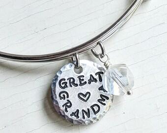 Great Grandma Bangle Bracelet, Adjustable Charm Bracelet, Gift from Great Grandkids,Great Grandma Gift, Mothers Day for Great Grandma