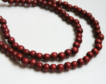 Chestnut Brown Rust wood beads round 6mm full strand eco-friendly Cheesewood 9432NB