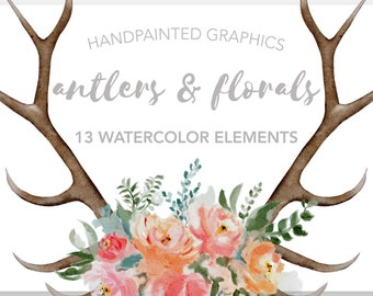 FLORAL ANTLER Clipart, commercial use, muted florals, wedding invitation graphics, bohemian watercolor clipart element, flower illustrations