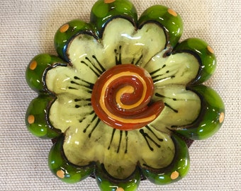 Green and Yellow 3D Flower Ceramic Mosaic Blossom