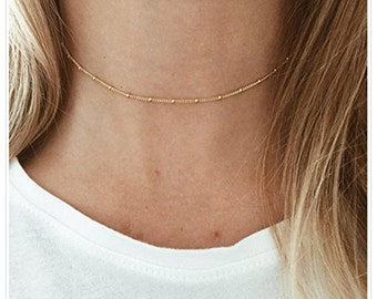 24k gold filled satellite chain choker necklace layered necklace chain layers