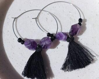 Purple Amethyst Crystal Gemstone Hoop Earrings
