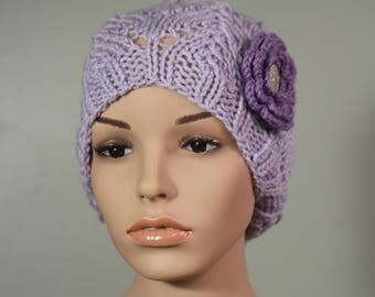 Semi Slouchy Hat with Flower - Orchid - Handknit Cap - Women's - Amethyst Flower - Crochet - Interchangeable