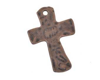 Copper cross pendant etsy 4 hammered copper cross pendant charms oxidized copper large 1 34 aloadofball Images