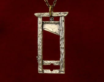 Guillotine Pendant Necklace French Guillotine Necklace in Solid Bronze 136