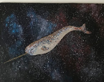 Narwhal Galaxy Abstract Original Acrylic on Canvas Panel 6x8