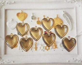 8 Vintage Goldplated 28mm Heart in a Heart Pendants